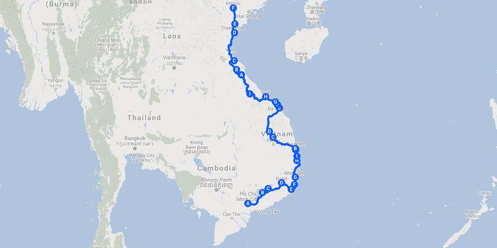 Motorbike Across Vietnam Route